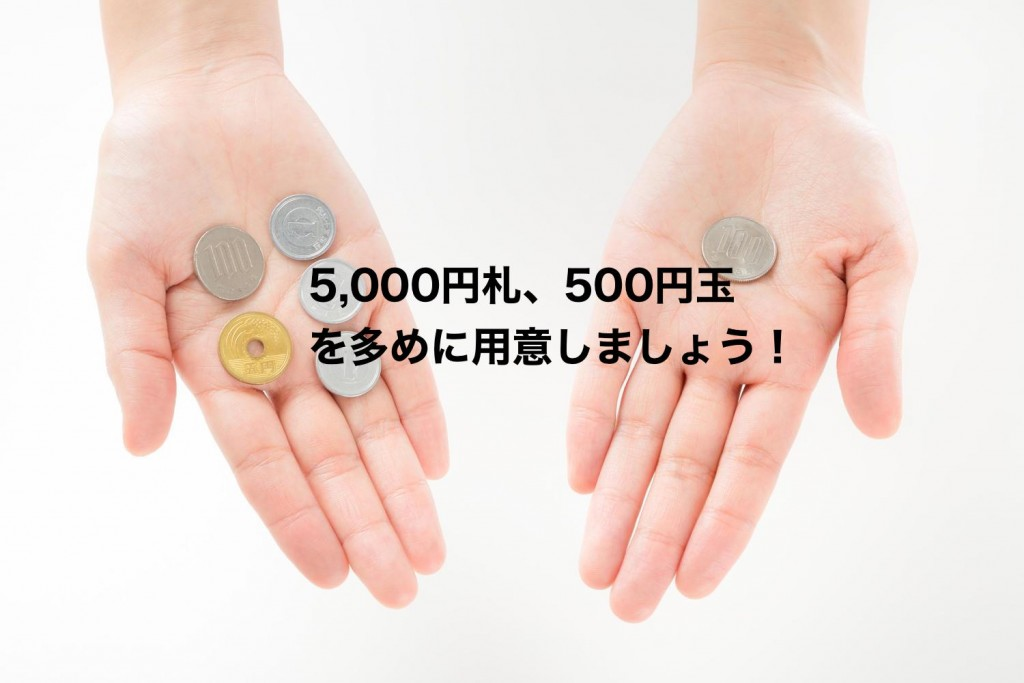 500円玉と、5000円札は多めに用意しましょう。