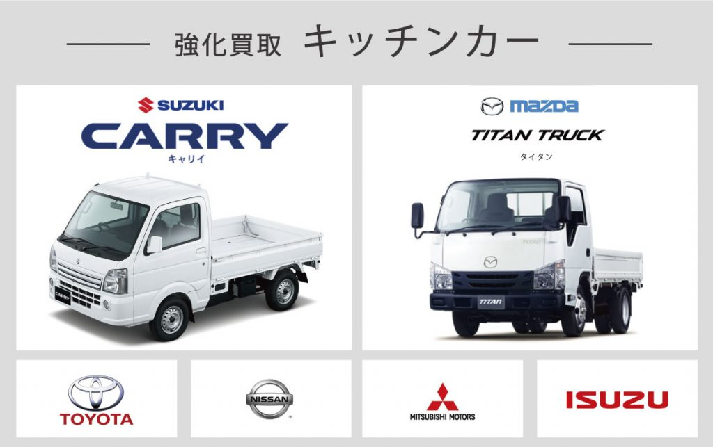 強化買取中のキッチンカーとトラックの種類