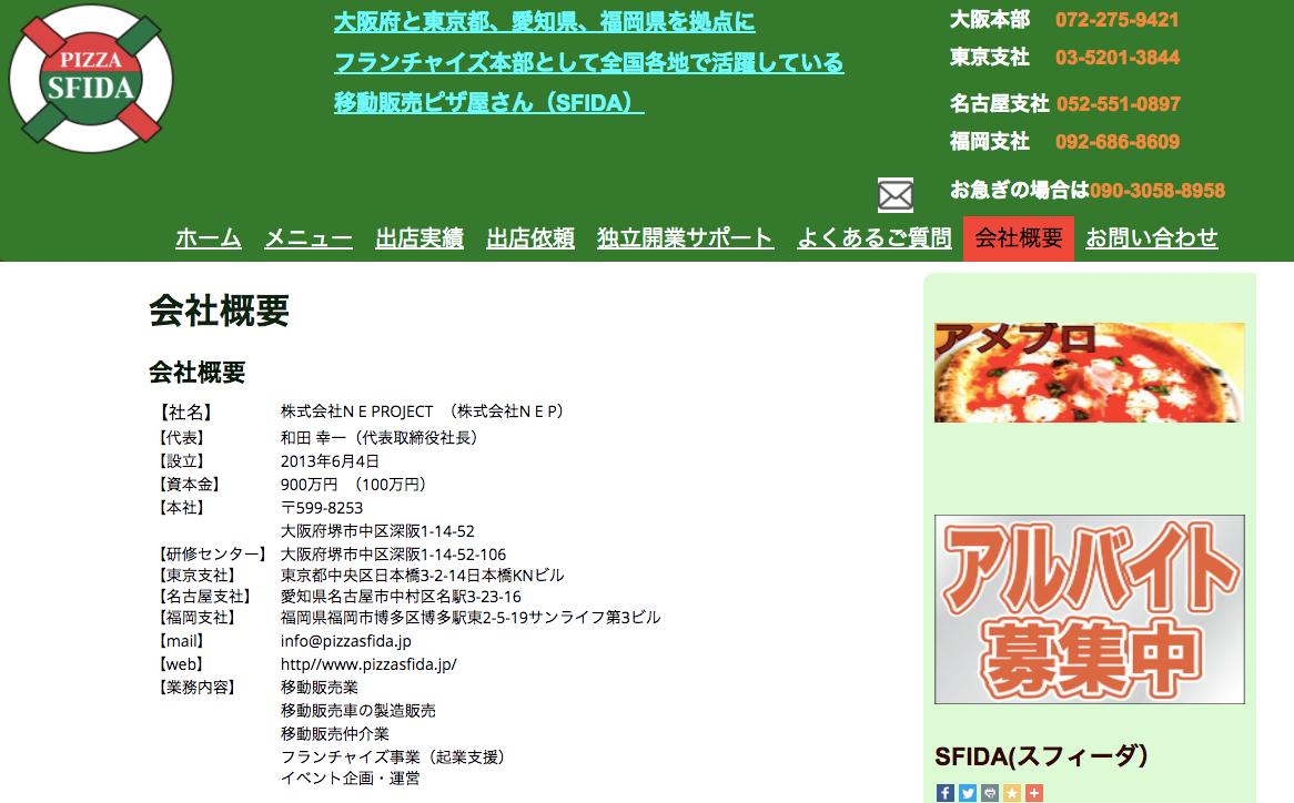 SFIDAピザの移動販売のフランチャイズ